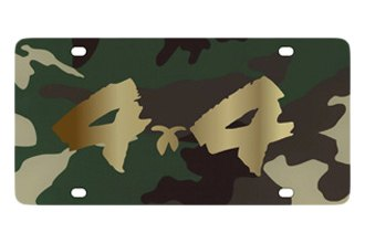 Eurosport Daytona® - Gold 4x4 Brushed Logo on Green Camouflage Lazertag Series License Plate