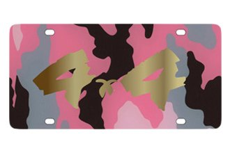 Eurosport Daytona® - Gold 4x4 Brushed Logo on Pink Camouflage Lazertag Series License Plate