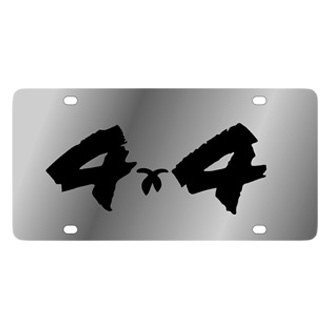 Eurosport Daytona® - MOPAR Stainless Steel License Plate with Black 4x4 Brushed Logo