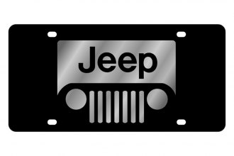 Eurosport Daytona® - MOPAR Black License Plate with Silver Jeep Grill Logo
