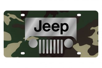 Eurosport Daytona® - MOPAR Green Camouflage License Plate with Silver New Jeep Grill Logo