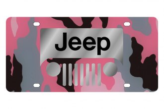 Eurosport Daytona® - MOPAR Pink Camouflage License Plate with Silver New Jeep Grill Logo