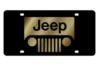 Eurosport Daytona® - MOPAR Black License Plate with Gold Jeep Grill Logo