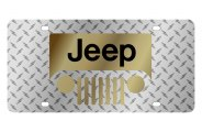 Eurosport Daytona® - Gold Jeep Grill Logo on Diamond Plate Lazertag Series License Plate