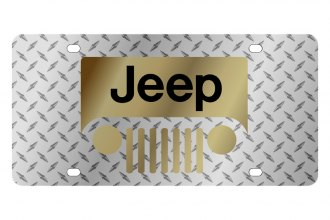 Eurosport Daytona® - MOPAR Diamond License Plate with Gold New Jeep Grill Logo