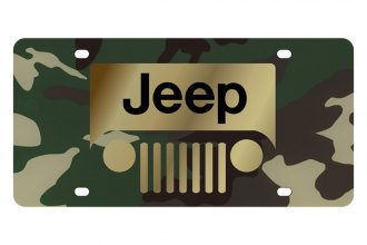 Eurosport Daytona® - MOPAR Green Camouflage License Plate with Gold New Jeep Grill Logo