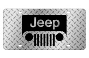 Eurosport Daytona® - Black Jeep Grill Logo on Diamond Plate Lazertag Series License Plate