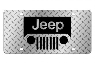 Eurosport Daytona® - MOPAR Diamond License Plate with Black New Jeep Grill Logo