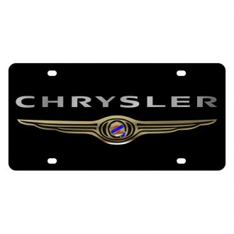 Eurosport Daytona® - MOPAR Lazertag Black License Plate with Silver Chrysler Logo and Emblem