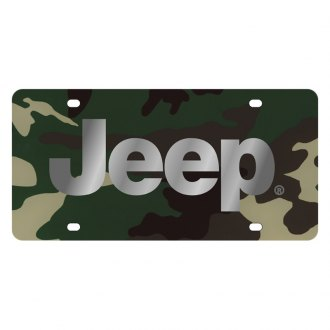 Eurosport Daytona® - MOPAR Green Camouflage License Plate with Silver Jeep Logo