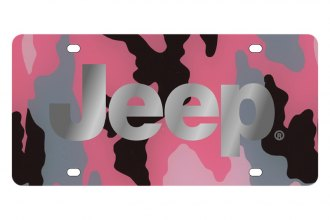 Eurosport Daytona® - MOPAR Pink Camouflage License Plate with Silver Jeep Logo