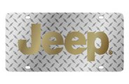 Eurosport Daytona® - Gold Jeep Logo on Diamond Plate Lazertag Series License Plate
