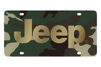 Eurosport Daytona® - MOPAR Green Camouflage License Plate with Gold Jeep Logo