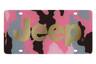 Eurosport Daytona® - MOPAR Pink Camouflage License Plate with Gold Jeep Logo