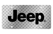 Eurosport Daytona® - Black Jeep Logo on Diamond Plate Lazertag Series License Plate