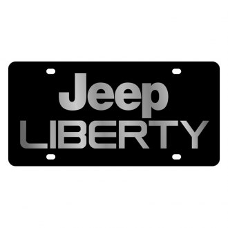 Eurosport Daytona® - MOPAR Black License Plate with Silver Jeep Liberty Logo