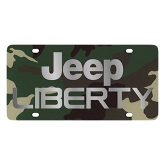 Eurosport Daytona® - MOPAR Green Camouflage License Plate with Silver Jeep Liberty Logo