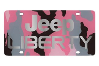 Eurosport Daytona® - MOPAR Pink Camouflage License Plate with Silver Jeep Liberty Logo