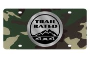 Eurosport Daytona® - Silver Trail Rated Logo on Green Camouflage Lazertag Series License Plate