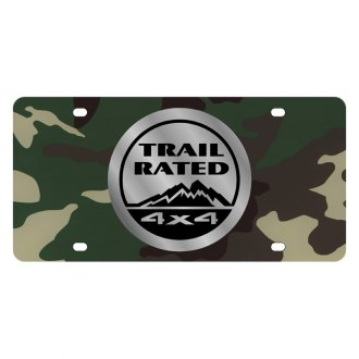 Eurosport Daytona® - MOPAR Green Camouflage License Plate with Silver Trail Rated Logo