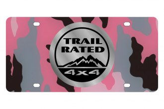 Eurosport Daytona® - MOPAR Pink Camouflage License Plate with Silver Trail Rated Logo
