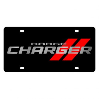 Eurosport Daytona® - MOPAR Black License Plate with Silver Dodge Charger Logo