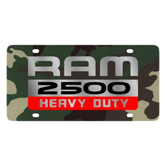 Eurosport Daytona® - MOPAR Green Camouflage License Plate with Silver Ram 2500 Heavy Duty Logo