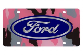 Eurosport Daytona® 2501-1PC - Ford Motor Company Pink Camouflage License Plate with Silver Ford Logo