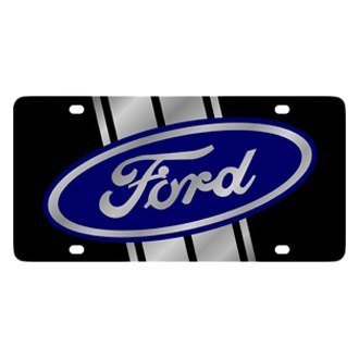 Eurosport Daytona® - Ford Motor Company Lazertag Black License Plate with Silver Ford Emblem with Stripe