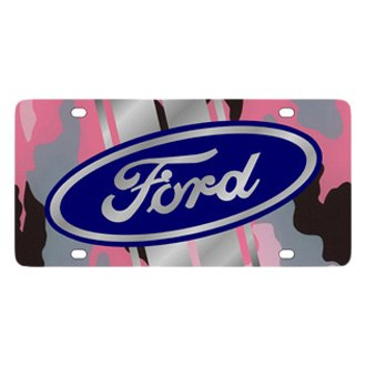 Eurosport Daytona® - Ford Motor Company Pink Camouflage License Plate with Silver Ford Logo