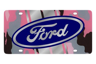 Eurosport Daytona® 2501STMP-1PC - Ford Motor Company Pink Camouflage License Plate with Silver Ford Logo