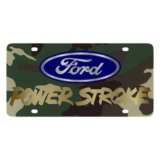 Eurosport Daytona® - Ford Motor Company Green Camouflage License Plate with Gold Power Stroke Logo