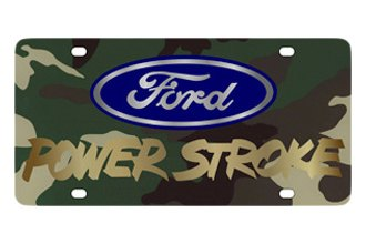Eurosport Daytona® 2502-2GC - Ford Motor Company Green Camouflage License Plate with Gold Power Stroke Logo