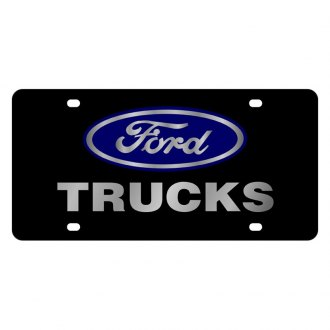 Eurosport Daytona® - Ford Motor Company Lazertag Black License Plate with Silver Trucks Logo and Ford Emblem