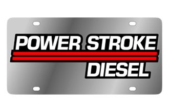 Eurosport Daytona® 2509-3 - Ford Motor Company Stainless Steel License Plate with Black Power Stroke Logo
