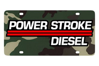Eurosport Daytona® - Ford Motor Company Green Camouflage License Plate with Black Power Stroke Logo