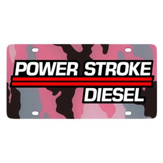 Eurosport Daytona® - Ford Motor Company Pink Camouflage License Plate with Black Power Stroke Logo