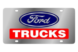 Eurosport Daytona® - Ford Motor Company Stainless Steel License Plate with Black Ford Trucks Logo