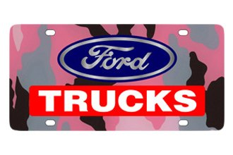Eurosport Daytona® - Ford Motor Company - Pink Camouflage License Plate with Black Ford Trucks Logo