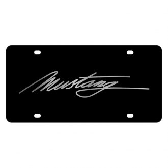 Eurosport Daytona® - Ford Motor Company Black License Plate with Silver Mustang Script Logo