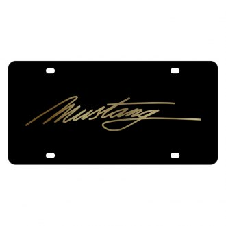 Eurosport Daytona® - Ford Motor Company Black License Plate with Gold Mustang Script Logo