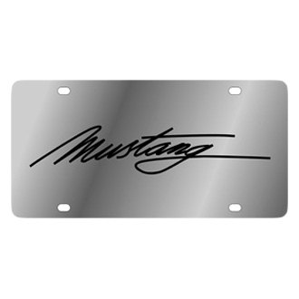 Eurosport Daytona® - Ford Motor Company Stainless Steel License Plate with Black Mustang Script Logo