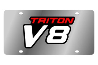 Eurosport Daytona® - Ford Motor Company Stainless Steel License Plate with Black Triton V8 Logo