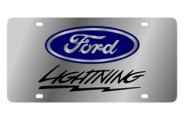 Eurosport Daytona® - Black Ford Lightning Logo on Stainless Steel Lazertag Series License Plate