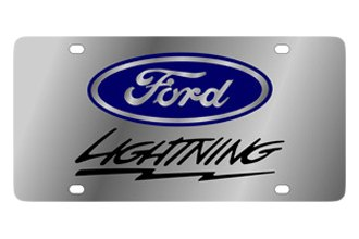 Eurosport Daytona® - Ford Motor Company Stainless Steel License Plate with Black Lightning Logo