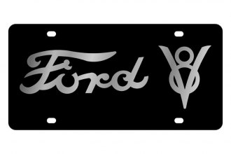 Eurosport Daytona® - Ford Motor Company - Black License Plate with Silver Ford V8 Logo