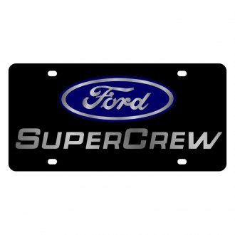 Eurosport Daytona® - Ford Motor Company Lazertag Black License Plate with Silver Super Crew Logo and Ford Emblem