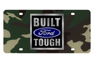Eurosport Daytona® - Ford Motor Company - Green Camouflage License Plate with Silver Built Ford Tough Logo