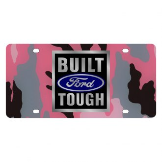 Eurosport Daytona® 2575-1PC - Ford Motor Company Pink Camouflage License Plate with Built Ford Tough Logo