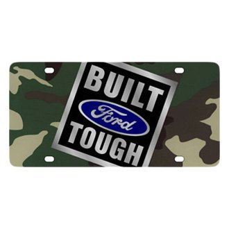 Eurosport Daytona® - Ford Motor Company Green Camouflage License Plate with Silver Built Ford Tough Logo